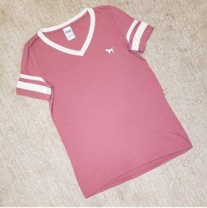 Victoria's Secret Pink V Neck Jersey T Shirt